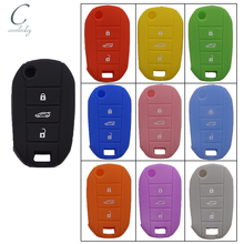 Cocolockey Siliconen Cover Holder Fit Voor Peugeot 508 5008 Voor Citroen Elysee Flip Remote Key Case 3 Knop Geen Logo