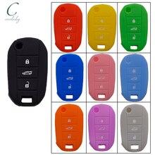 Cocolockeyシリコーンカバーホルダーfitプジョー508 5008シトロエンエリゼフリップリモートキーケース3ボタンのないロゴ