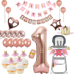 Baby girl First 1st one year old birthday decoration supplies gift balloon cake topper banner High Chair garland hat headband