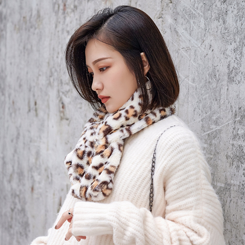 2019 Autumn And Winter New Style Warm Scarf Faux Rabbit Fur Warming Scarf Girl'S Japanese-style Solid Color Plush Scarf