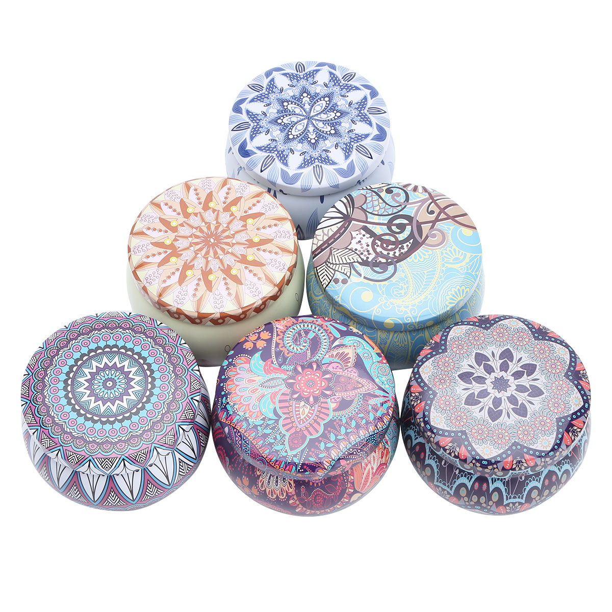 6 Vintage Flower Print Metal Tin Jar Candle Making Containers Storage Case w//Lid