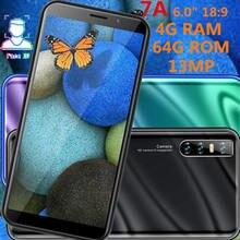 7a 4g ram 64g rom smartphones quad core 13mp barato celulares rosto desbloqueado 6.0