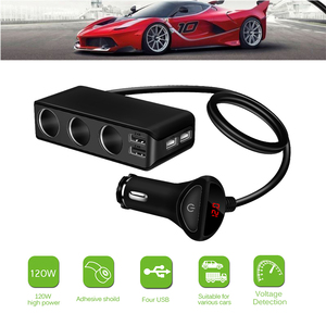 Image 1 - 4 USB Port Car Charger 6.8A USB Charger Voltmeter with 3 Way Car Cigarette Lighter Socket Splitter 120W Power Adapter Charger