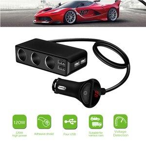 Image 1 - Chargeur de voiture 4 ports USB 6.8A chargeur USB voltmètre avec 3 voies voiture allume cigare prise répartiteur 120W adaptateur secteur chargeur