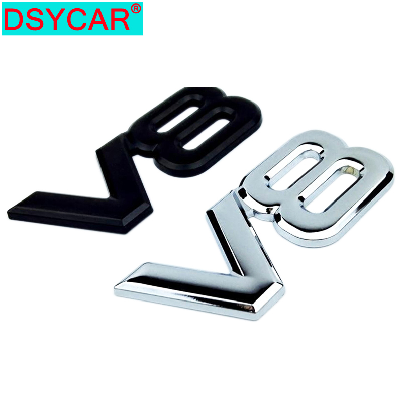 DSYCAR 1Pcs Mode 3D Metall Chrom V8 Auto Aufkleber Logo Emblem Aufkleber Abzeichen Auto Körper Aufkleber Universal, auto Dekoration Sickers Neue