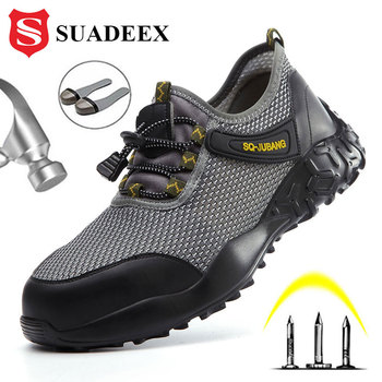 SUADEEX Safety Shoes Men Work Safety Sheos Women Breathable Steel Toe cap Sneakers Puncture proof Construction Work Safety Boots men s steel toe work safety shoes casual breathable outdoor sneakers puncture proof boots comfortable industrial shoes for men