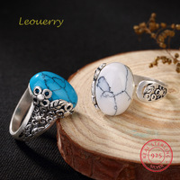 Leouerry S990 Sterling Silver White Blue Turquoise Open Ring Vintage Openwork Flower Leaves Rings for Women Jewelry