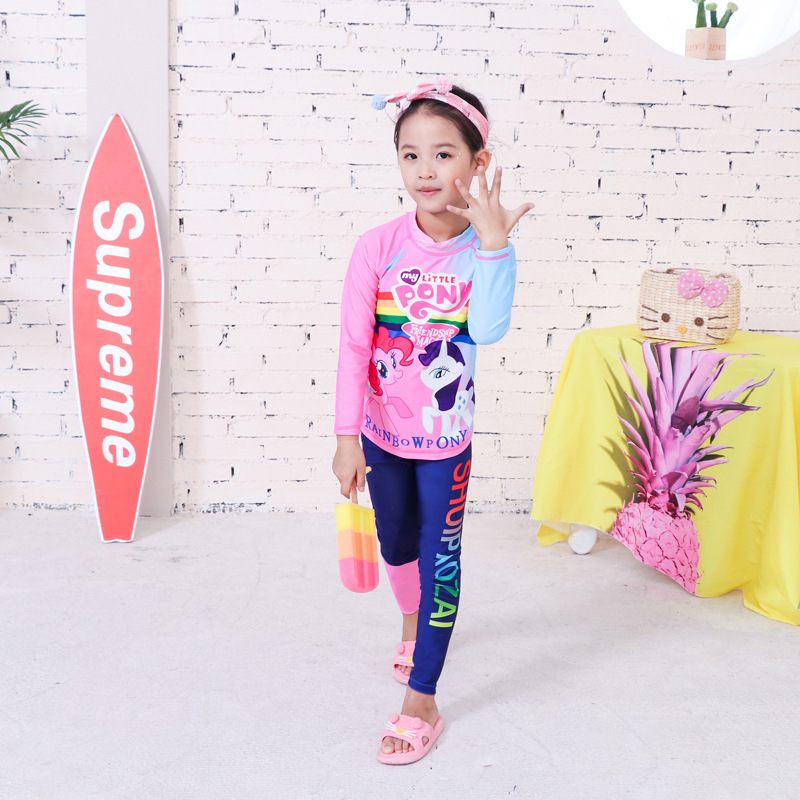 KID'S Swimwear Long Sleeve Trousers Girls' Two-piece Swimsuit 5-13-Year-Old Korean-style Cartoon Children Hot Springs Bathing Su