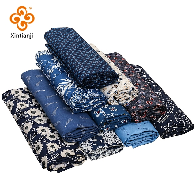 Navy Cotton Fabric By Half Yards Japanese Sewing Fabric For DIY Kimono Handicraft Materials For Children TJ1023 2