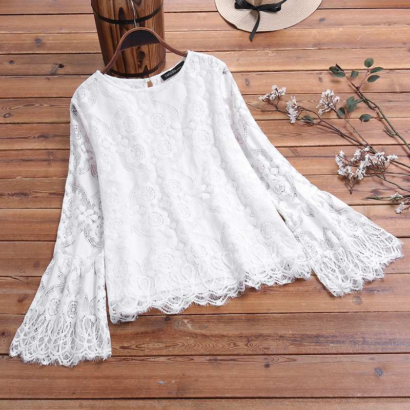 M 5XL ZANZEA Spring Blusas Fashion Lace Crochet Blouse Solid Party Shirt Women Long Flare Sleeve Work Tunic Tops Female Chemise