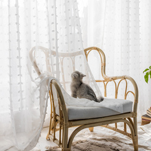 Fresh white yarn curtain bedroom Nordic simple curtain yarn for bedroom balcony living room Korean girl sweet style curtain yarn