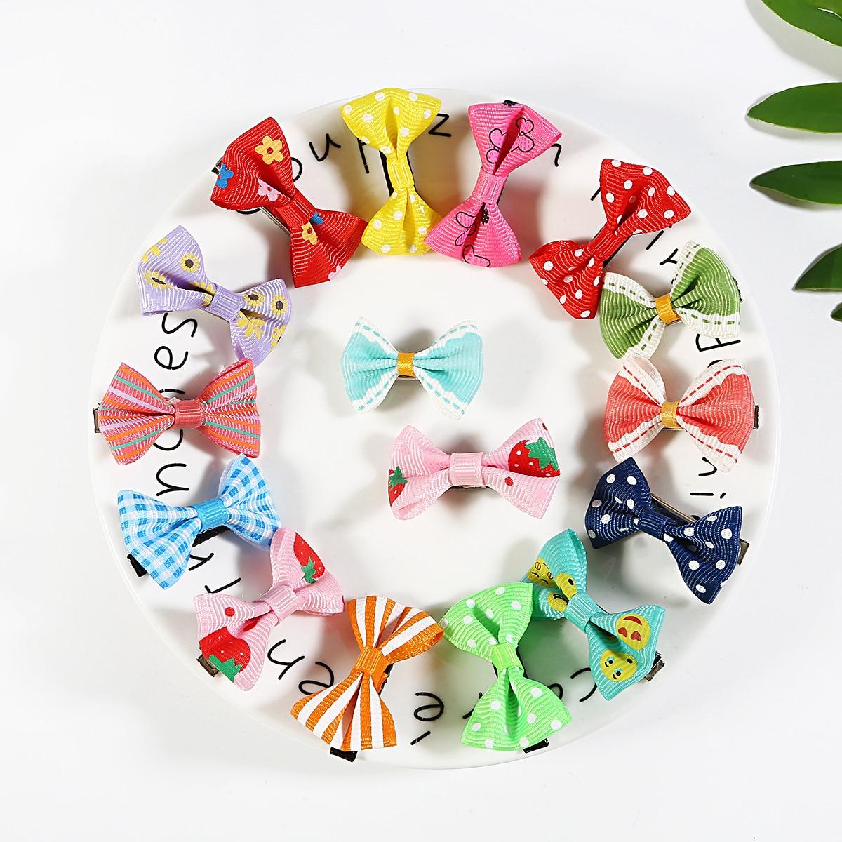 Barrettes avec Mini épingles à nœud mixte aléatoire   10 pièces, accessoires pour cheveux, joli bandeau de sécurité pour petites filles