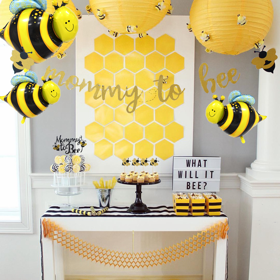 1Set Cute Honeybee Series Balloons Mommy To Bee Paper Banner Bee Cake Topper Baby Shower Kids Birthday Party Decoration