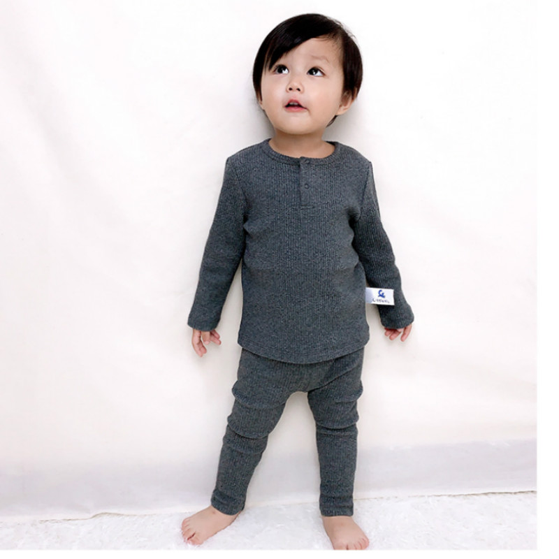 2020 novas criancas roupas meninas meninos criancas conjuntos de pijama para o bebe com nervuras com