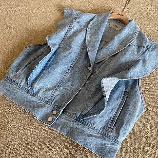 [EWQ] Korea Chic Summer Casual Lapel Ruffled Loose Blue Sleeveless Vest Jacket Women Summer Blue Trendy Ladies Clothing 2021 16E 4