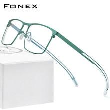 FONEX puro titânio óculos quadro masculino quadrado miopia prescrição óptica armação homem 2020 novo silicone eyewear 8553
