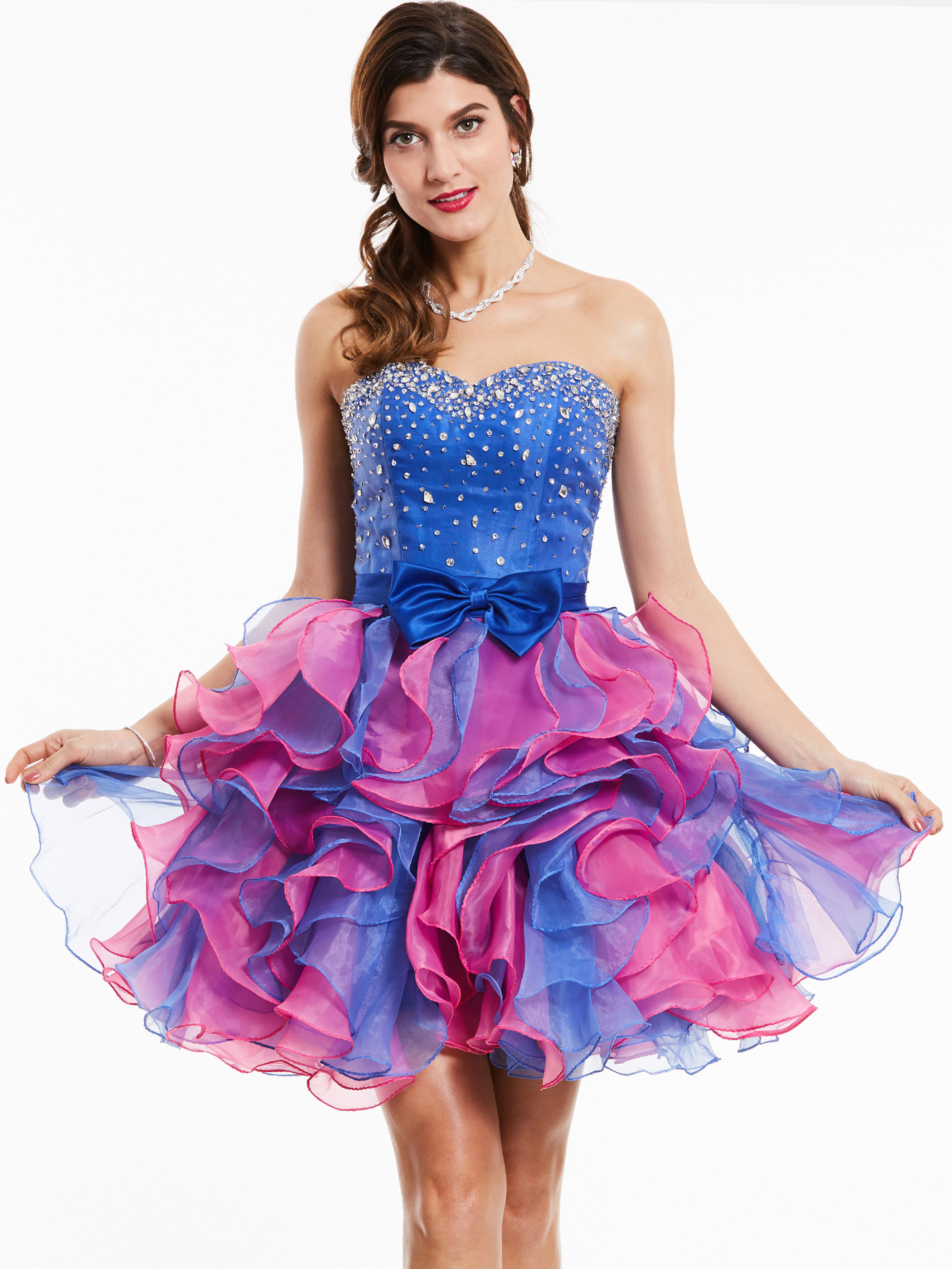 Dressv Strapless Cocktail Dress Royal Blue Sleeveless Beaded Bowknot Above Knee Ball Gown Women Party Short Cocktail Dresses