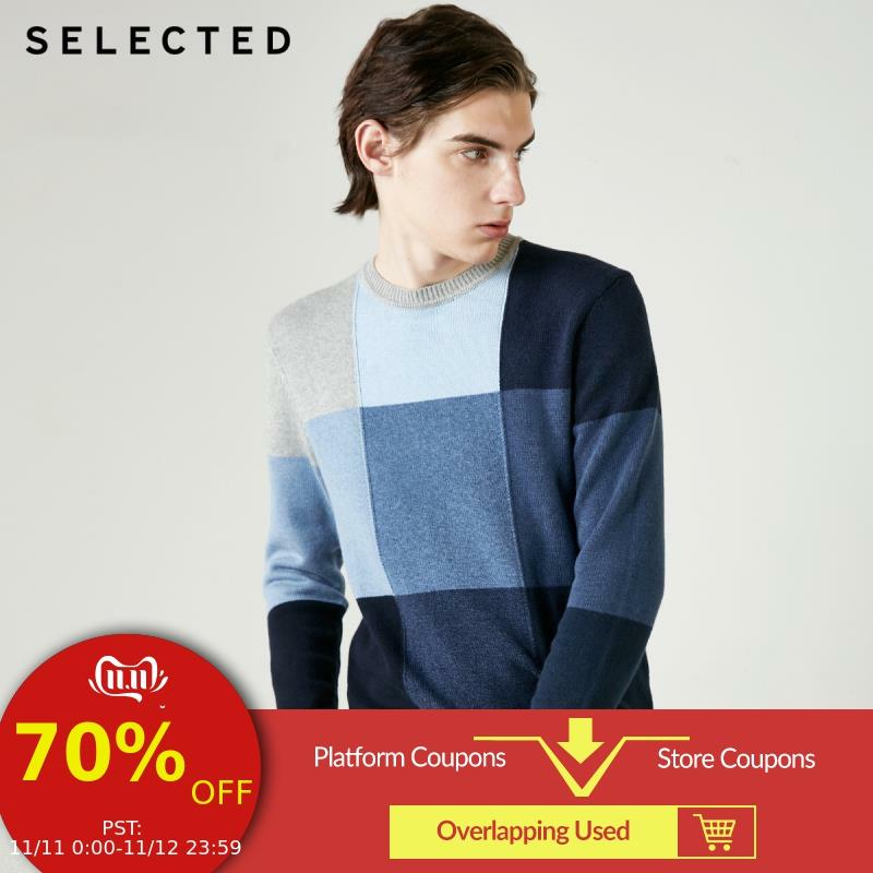 SELECTED Men's Autumn Cotton Wool Assorted Colors Checked Knit S|419124555