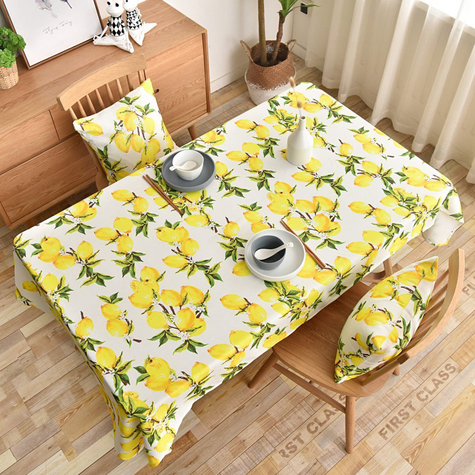 Lemon Print Tablecloth Decorative Rectangular Kitchen Dining Birthday Party Table Cover Tea Cloth Waterproof  JS81C