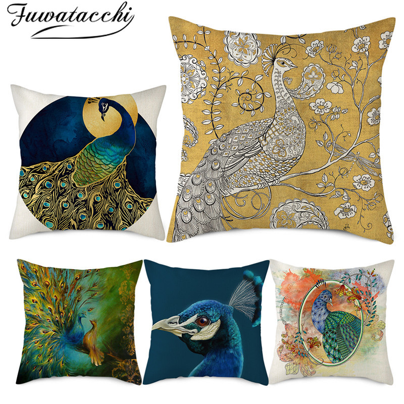 Fuwatacchi Linen Peacock Picture Cushion Cover Peahen Animals Printed Pillows Covers For Home Sofa Chair Decorative Pillowcases