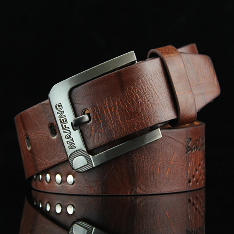 Cow Genuine Leather Men Belt Luxury Leathers Male Classice Vintage Belts Classic Alloy New Fashion Top Quality Metal Pin Buckle