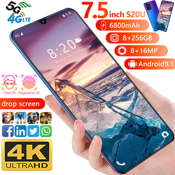 7.5 pouces Galay S20 réseau 8GB RAM 256GB ROM Octa Core 4 caméra Snapdragon 855 téléphone intelligent avec coque de téléphone