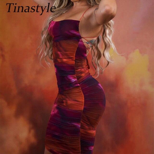 Tinastyle Tie Dry Sexy Backless Bodycon Dress For Women Sleeveless Strapless Party Summer Dresses Vestidos Elegant Ladies Dress 3