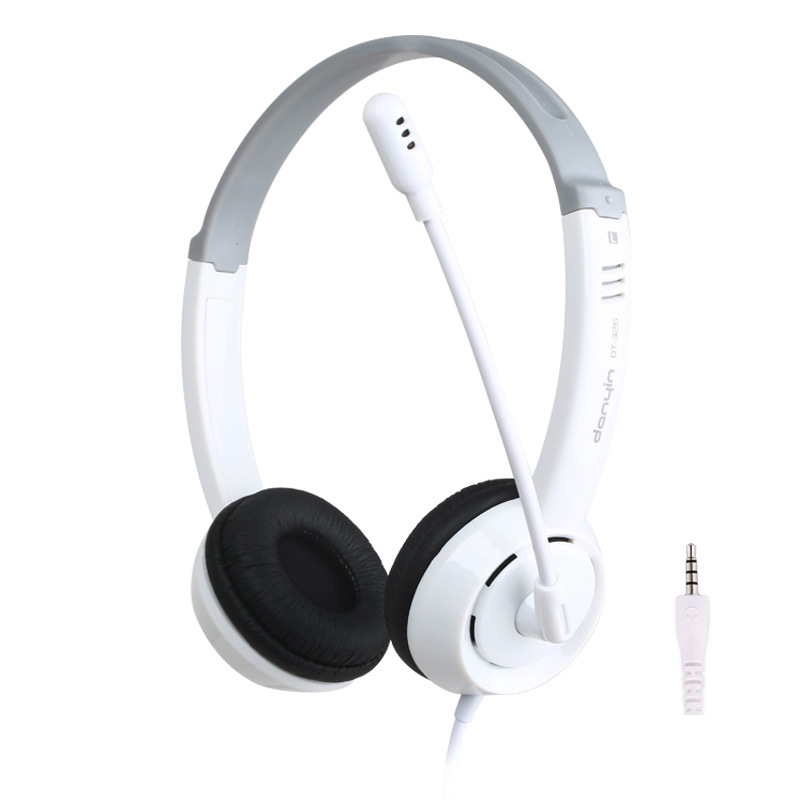 DT-326 Wired Headphones White Elegant Stereo Hifi Headsets With Mic For PC Computer Phone Game Noise Canceling Earphone