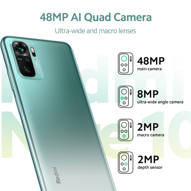Global Version Xiaomi Redmi Note 10 Smartphone Snapdragon 678 5000 mAh AMOLED Display 48MP Quad Camera 33W Fast Charging 3