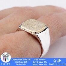 Nieuwe Collectie 925 Sterling Zilveren Heren Ring Eenvoudige Elegante Goud Kleur Vierkante Geborsteld Oppervlak Vintage Ring Voor Mannen Vrouwen Sieraden