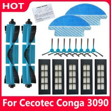 Roller Brush Hepa Filter Side Brush Water Tank Filter Parts for Cecotec Conga 3090 Vacuum Cleaner Mop Pad Cloth Accessories