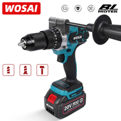 WOSAI 20V Brushless Electric Drill 20 Torque 115NM Cordless Screwdriver 4.0Ah Li-ion Battery Electric Power Screwdriver Drill