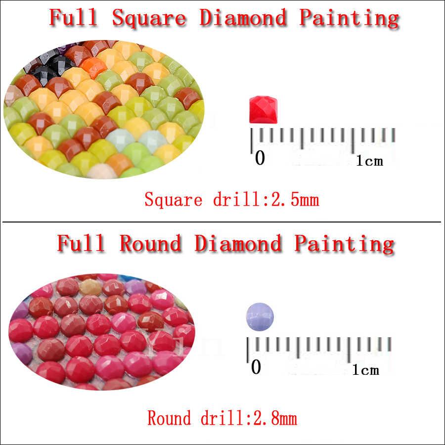 5D Bulat DIY Diamond Lukisan Putri Duyung Cahaya Bulan Pemandangan Diamond Bordir Berlian Imitasi Gambar Mosaik Berlian Cross Stitch