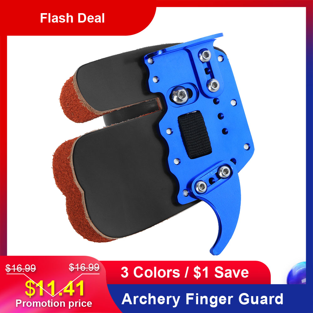 Leather Archery Finger Guard Protection Pad Glove Tab Bow Shooting Protector ZB