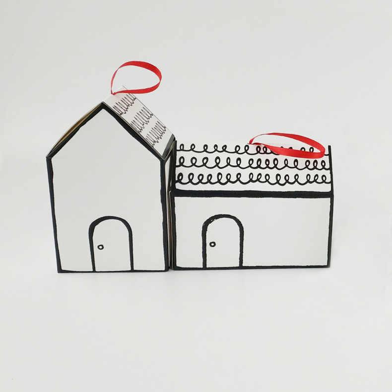 House Candy ของขวัญกระเป๋าเชือก Xmas Tree Cookie Merry Christmas ผู้เข้าพักกล่องบรรจุภัณฑ์ PARTY Decor