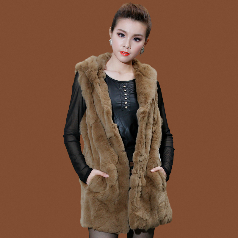 Fashion 2020 Natural Rex Rabbit Fur Vest Hooded Winter Female Jacket Real Fur Coat Long Slim Waistcoat For Women 8120008