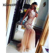 In Fashion Mermaid Prom Dress 2020 Scoop Sleeveless Beading Sequins Backless Long Elegant Formal Evening Gown Gala Graduation(China)