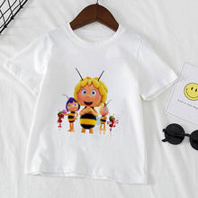 Camisa de aniversário casual menino menina camiseta selvagem camisa de festa maya a abelha bonito tema presente moda meninos t roupas para meninas do bebê novidade