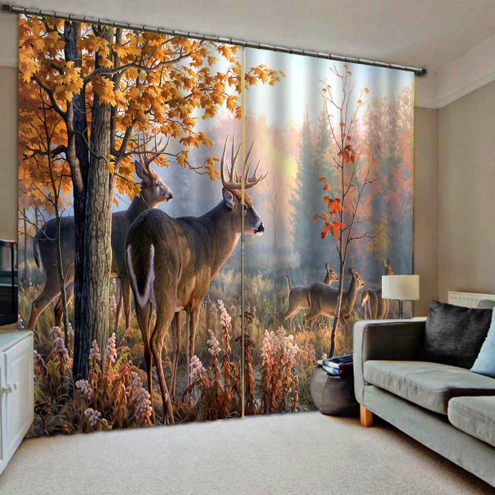 Auturn forest curtains animal 3D Curtain Luxury Blackout Window Curtain Living Room Blackout curtain