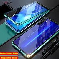 Doble cara de vidrio funda de adsorción magnética para Realme X3 SuperZoom X50 XT C3 K5 5i 6i Q 5 Pro de parachoques de Metal cubierta del teléfono