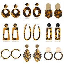 Modyle богемные серьги-капли из акриловой смолы для женщин, круглые свисающие серьги с леопардовым принтом, Модные женские ювелирные изделия в стиле бохо
