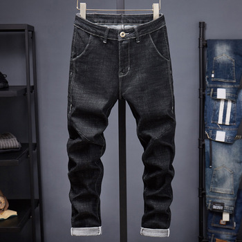 Cultivate Men s Fashion Elastic Winter Trousers for Black Moto Jeans Slim Fit Straight Denim Pants Distressed