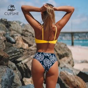 Image 3 - Cupshe biquíni cintura alta com estampa frontal, roupa de banho duas peças de biquíni sexy feminino 2020 trajes de banho