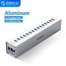 ORICO A3H13P2 SV אלומיניום 13 יציאות רב USB3.0 HUB ספליטר עם 2 יציאות טעינה 5V2.4A סופר מטען/5V1A אוניברסלי כסף