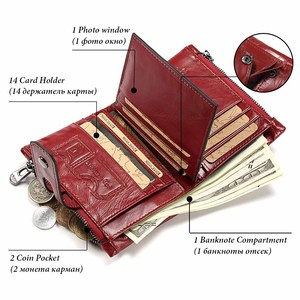 Image 2 - 本革の女性の財布ショートコイン財布ファッション赤レディースカードバッグ小さな女性掛け金ミニクラッチガール高品質