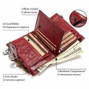 Image 2 - Portefeuille en cuir véritable pour femmes, porte monnaie court pour femmes, porte monnaie mode rouge, sac carte, petit loquet pour filles, Mini pochette de haute qualité