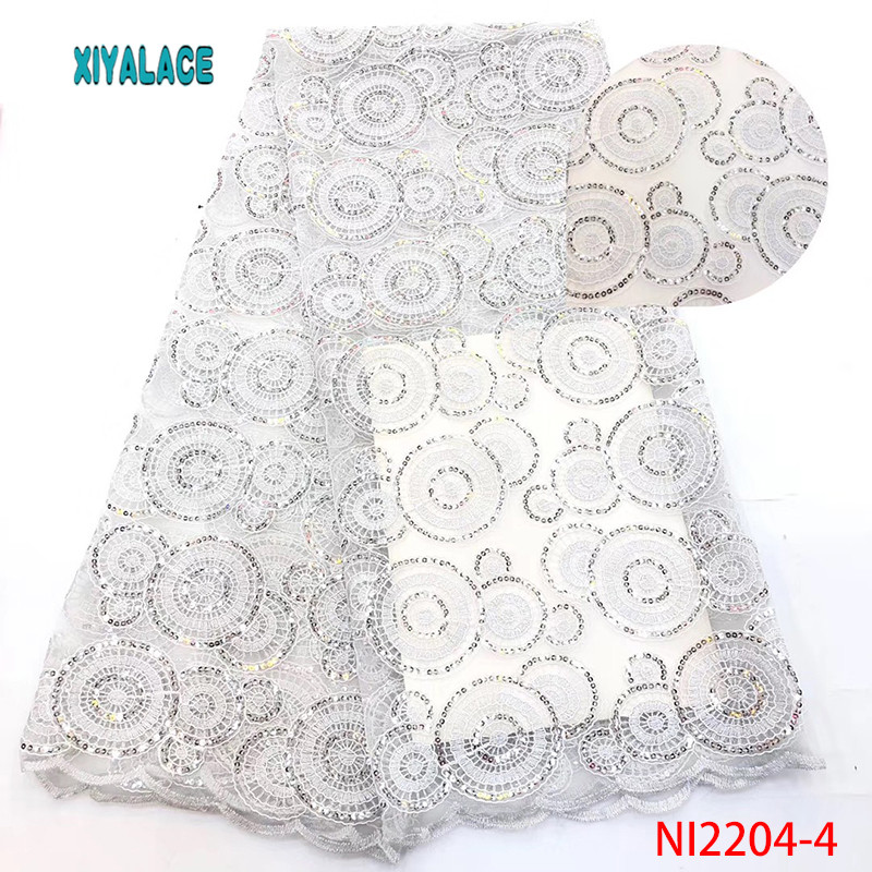 African Lace Fabric White 2019 High Quality Sequins Lace Fabric Nigerian Lace Fabrics French Bridal Lace For Dress YANI2204-4
