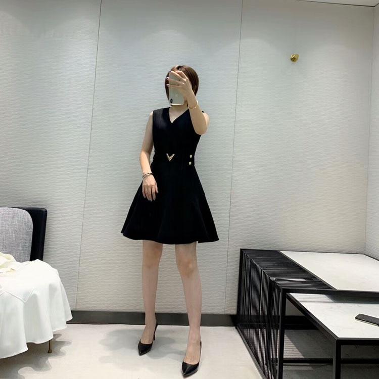 2019 herbst und Winter frauen Neue Stil Elegante Mode Hohe Qualität V ausschnitt Kleid 2 Farbe Schwarz & Weiß - 5