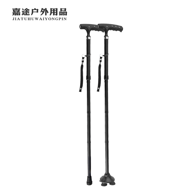 Smart LED Lamp Old Man Wand Anti-slip Handle Walking Stick Aluminium Alloy Rod Body Four Corners Base 5 Section Folding Wand