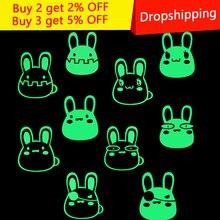Cartoon DIY Cute Rabbit Animal Luminous Switch Sticker Glow in the Dark Wall Home Decor Kids Room Decoration Living